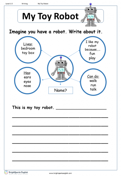 my toy robot english writing worksheet english treasure trove. Black Bedroom Furniture Sets. Home Design Ideas