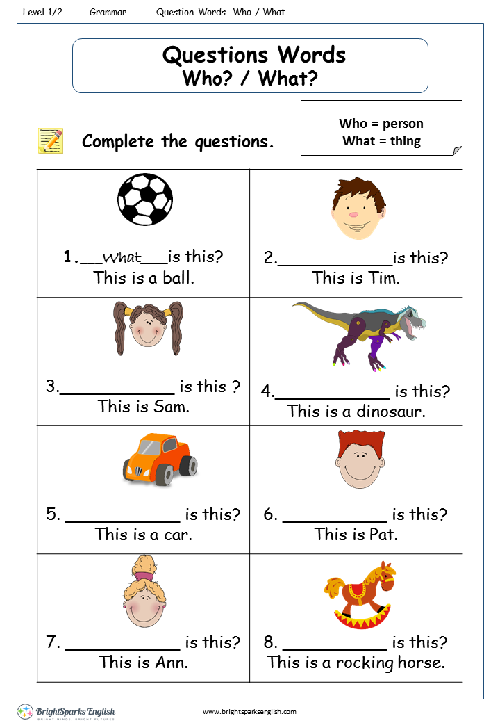 Question Words Who What Worksheet English Treasure Trove