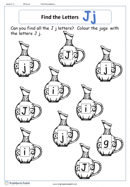 Find The Letter J Worksheet English Treasure Trove