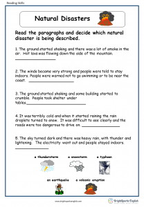 Lesson Plan On Natural Disasters For Grade