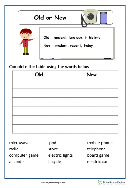 Old or New English Language Worksheet – English Treasure Trove