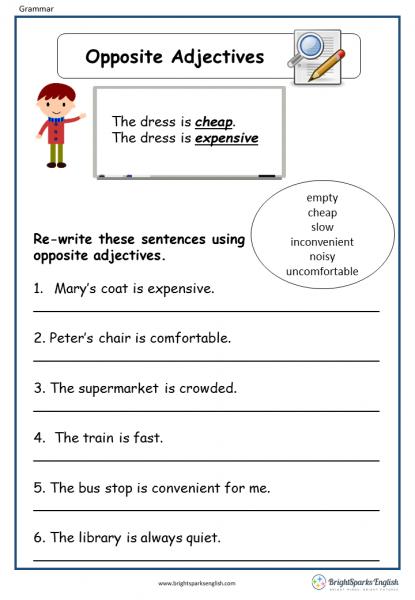 Opposites Adjectives English Grammar Worksheet English Treasure Trove