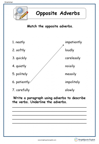 opposite adverbs