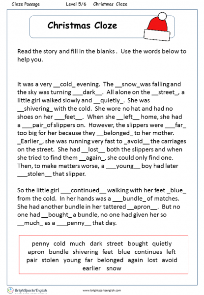 reading fill in the blanks pdf
