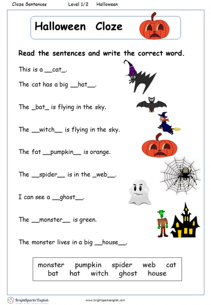 Halloween Cloze English Reading Worksheet English