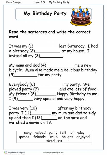 my birthday party english reading worksheet english treasure trove. Black Bedroom Furniture Sets. Home Design Ideas
