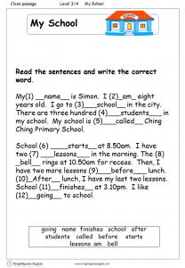 My Body English Cloze Worksheet – English Treasure Trove