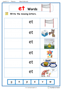 Et Word Family Worksheet Worksheets for all | Download and Share ...