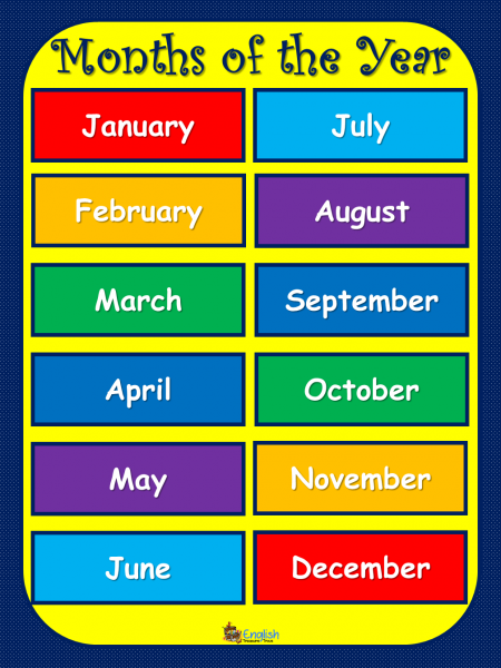 months of the year english language poster english treasure trove