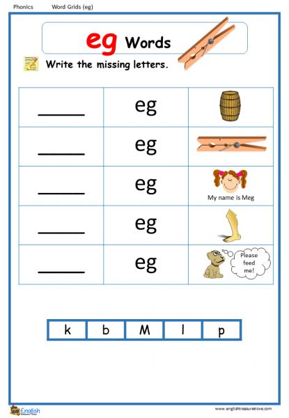 Word Family eg Word Grids English Phonics Worksheet - English ...