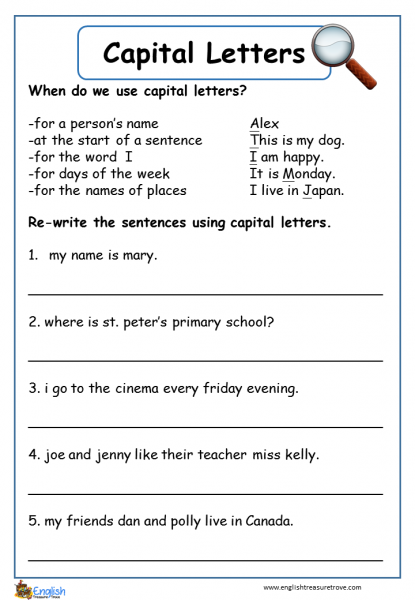 Capital Letters English Grammar Worksheet English
