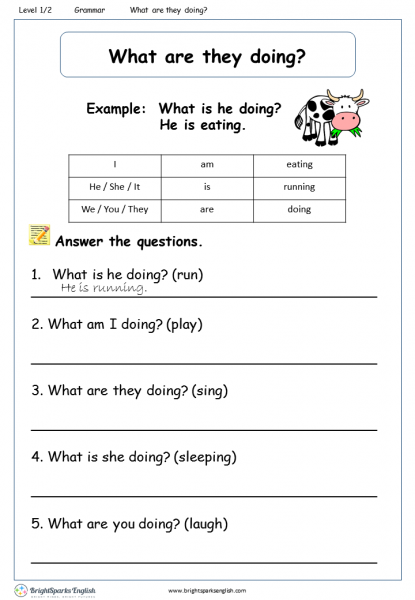 What are they doing? Worksheet – English Treasure Trove