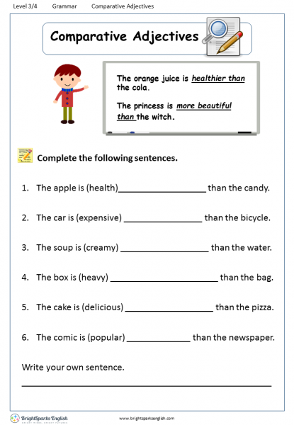 Comparative Adjectives Worksheet – English Treasure Trove on one syllable word worksheets, describing objects worksheets, comparative superlative adjective, adjective order worksheets, adverbs worksheets, second grade adjective worksheets, comparative vocabulary worksheets, fun psychology worksheets, easy crossword puzzle worksheets, wide and narrow worksheets, clauses and phrases worksheets, positive comparative superlative worksheets, printable adjective worksheets, 3rd grade math reasoning worksheets, beginning band worksheets, comparative worksheets preschool, comparative and superlative worksheets, beginning spanish worksheets, fun adjective worksheets, er and est worksheets,