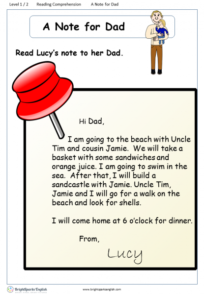 reading comprehension Level 1 A Note for Dad