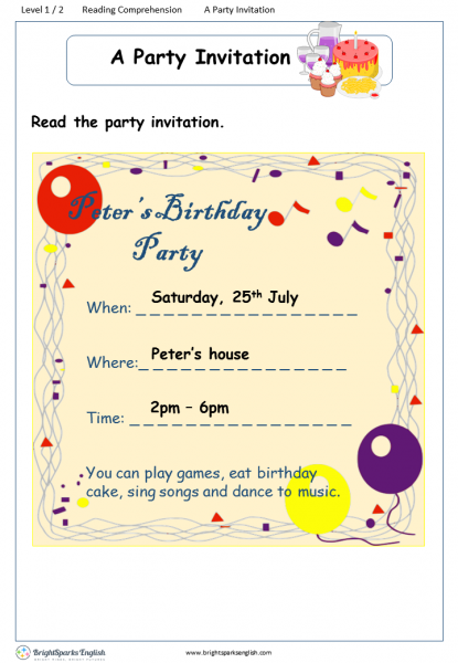 reading comprehension Level 1 A Party Invitation