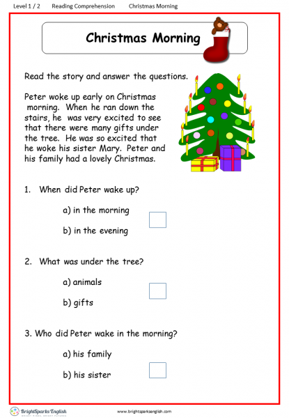 reading comprehension Level 1 Christmas Morning