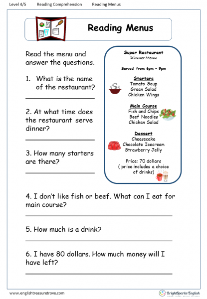reading comprehension Level 4 Reading Menus