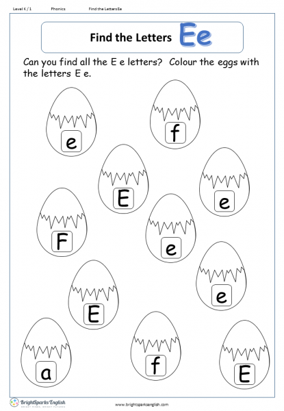 find the letters – Ee