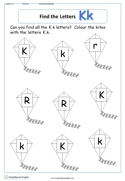 find the letters – Kk