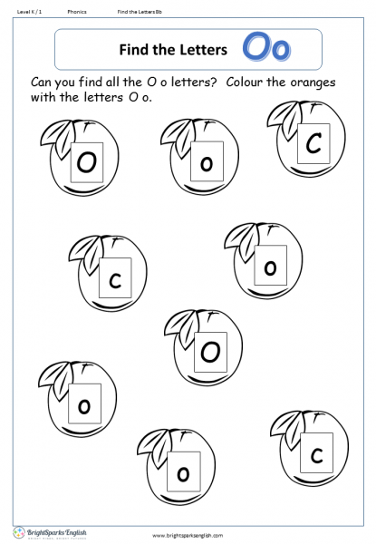 find the letters – Oo