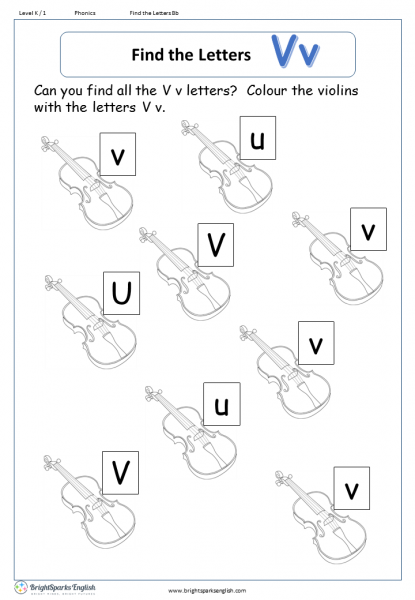 find the letters – Vv