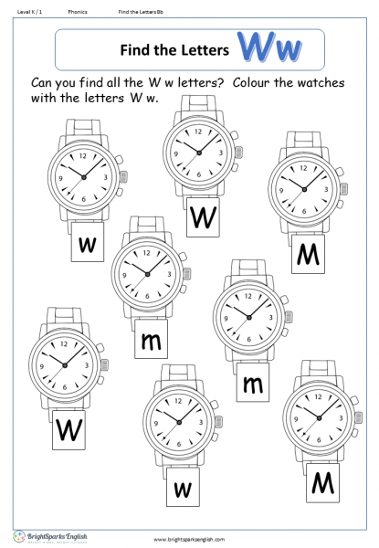 find the letters – Ww