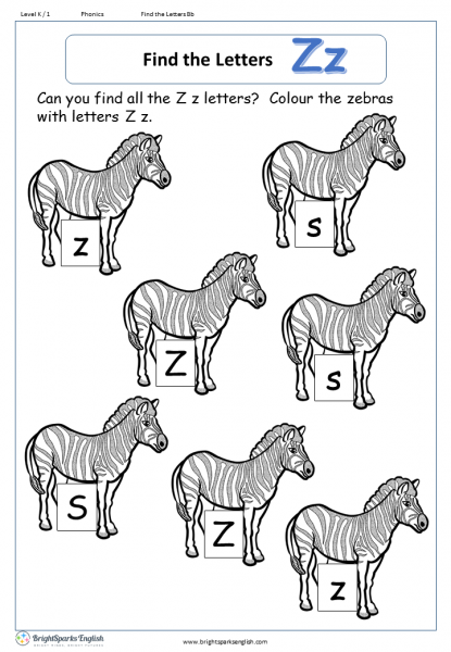 find the letters – Zz