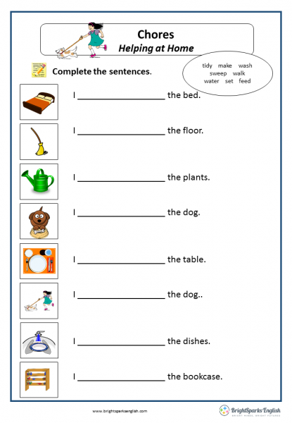 Chores English Verbs Worksheet – English Treasure Trove