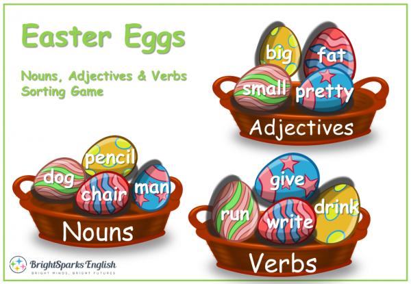 Nouns, Verbs, Adjectives Easter Eggs