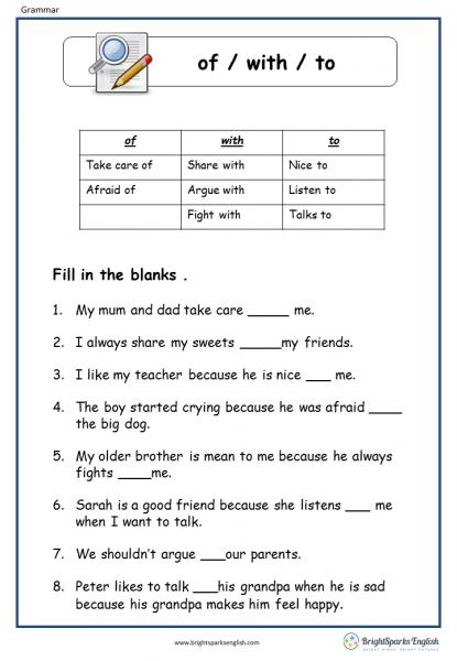 Prepositions English Grammar Worksheet – English Treasure Trove