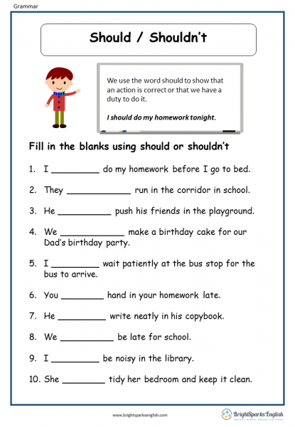 Should Shouldn't English Grammar Worksheet – English ...