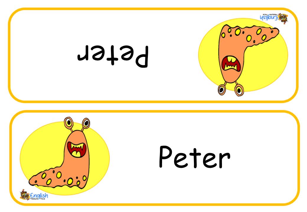 editable student name cards monsters  english treasure trove