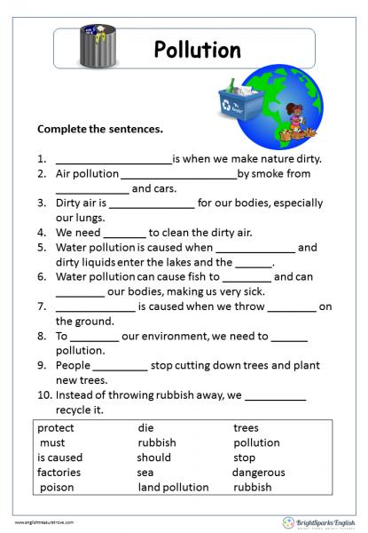 Pollution Cloze Passage English Reading Worksheet – English ...