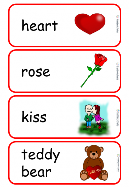 valentine's flashcards