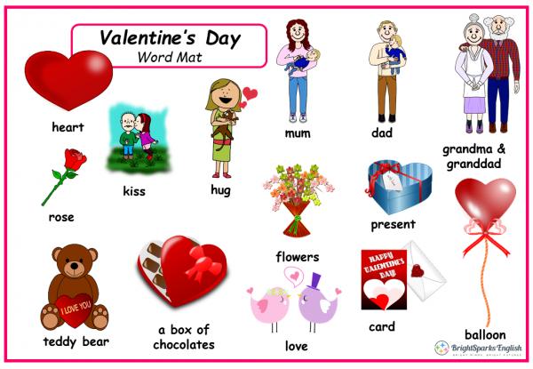 valentines word mat