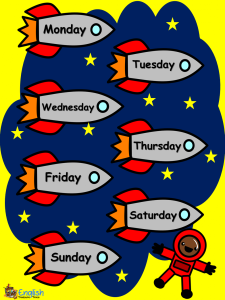 days of the week rocket poster