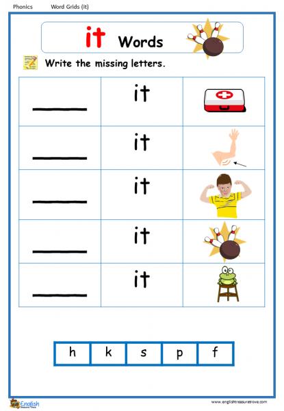 Word Family It Word Grids English Phonics Worksheet English Treasure Trove